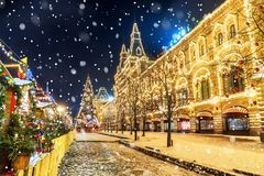 Christmas in Moscow. Red Square in Moscow.  Stock Photography