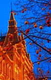 Christmas in Moscow, Russia. Red Square, GUM, New Year`s decorations and illumination.  royalty free stock photos