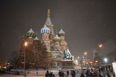 Christmas in Moscow. St. Basil's Cathedral royalty free stock photography