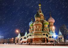 Christmas in Moscow.St. Basil`s Cathedral royalty free stock photo