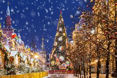 Christmas in Moscow. Christmas tree on Red Square.  stock photos