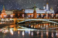 Christmas in Moscow.winter panorama of night Moscow, Russia stock images