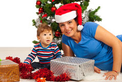 Christmas mother and baby Stock Photo