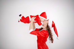 Christmas mother and baby kissing royalty free stock photography