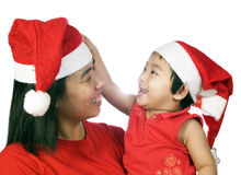 Christmas Mother And Daughter. With white background Stock Image
