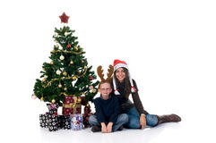 Christmas mother and son Royalty Free Stock Photo