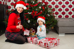 Christmas mother and son Royalty Free Stock Photos