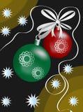 Christmas motif with balls, stars and ribbon. Abstract Christmas motif with balls, stars and ribbon stock illustration