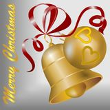 Christmas motif with gold bell, gold christmas ball and red ribbon. On the silver background vector illustration