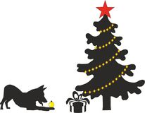 The Christmas motif and the symbol of the year. Symbol 2018 yellow earth dog. Without a Christmas tree don`t feel the holiday stock illustration
