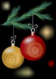 Christmas motif with two balls on the green branch. On the dark area with lights stock illustration