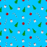 Christmas motifs, blue wrapping paper pattern vector illustration