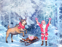 Christmas greetings, festive background for the images. Christmas motifs: in a snowy forest with Santa Claus, next to the deer and sleigh with gifts Royalty Free Stock Images