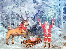 Christmas greetings, festive background for the images. Christmas motifs: in a snowy forest with Santa Claus, next to the deer and sleigh with gifts Stock Photo