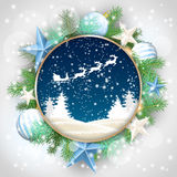 Christmas motive, abstract winter landscape. And santa's sleigh in rounded decorative frame with green branches, white baubles and stars, vector illustration Royalty Free Stock Images