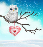 Christmas motive, cute white owl sitting on dry branch in front of abstract sky with clouds, illustration Royalty Free Stock Photography