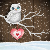 Christmas motive, cute white owl sitting on dry branch in front of brown wooden wall, illustration Stock Photos