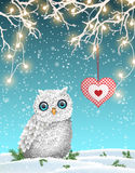 Christmas motive, cute white owl sitting under dry branch with electric lights in winter landscape, illustration Stock Image