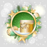 Christmas motive, golden present in rounded Stock Image