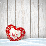 Christmas motive in scandinavian style, red and white decorated hearts in front of bright wooden wall, illustration Stock Photo
