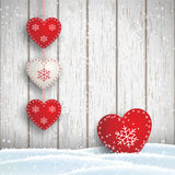 Christmas motive in scandinavian style, red and white decorated hearts in front of bright wooden wall, illustration Royalty Free Stock Photography