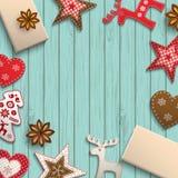 Christmas motive, small scandinavian styled decorations lying on wooden desk, illustration. Christmas background, small scandinavian styled red decorations lying vector illustration
