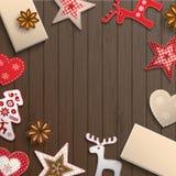 Christmas motive, small scandinavian styled decorations lying on wooden desk, illustration. Christmas background, small scandinavian styled red decorations lying stock illustration