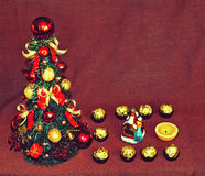 Christmas motive with tree and candy and figure 16 (2016, New Ye Stock Photos