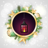Christmas motive, vintage lantern in rounded Stock Photo