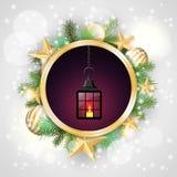 Christmas motive, vintage lantern in rounded Stock Photo
