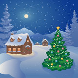 Christmas mountain village. Illustration of a snowy Christmas night village at the mountains Stock Images