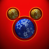 Christmas mouse with blue and yellow balls Royalty Free Stock Photos