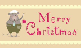 Christmas mouse card. Merry Christmas mouse - greeting card Royalty Free Stock Photography