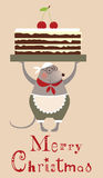 Christmas mouse cooke with cake Stock Photography