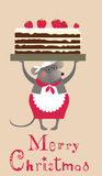 Christmas mouse cooke with cake Royalty Free Stock Photos