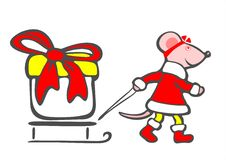 Christmas mouse and gift Royalty Free Stock Photo