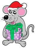 Christmas mouse with gift Royalty Free Stock Photography