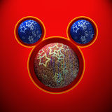 Christmas mouse with red and blue balls Royalty Free Stock Image
