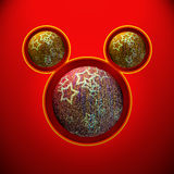 Christmas mouse with red and yellow ball Royalty Free Stock Photos