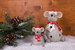 Christmas Mouse with snow and fir branch Royalty Free Stock Images