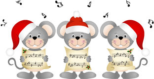 Christmas mouses choir singing Royalty Free Stock Image