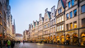 Christmas street decorations in Muenster, Germany stock image