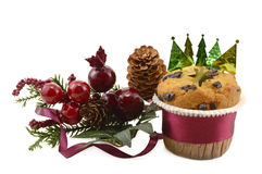 Christmas muffin isolated Royalty Free Stock Images