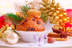 Christmas muffins. Royalty Free Stock Photography