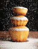 Christmas muffins covered powdered sugar Stock Photo