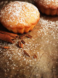 Christmas muffins covered powdered sugar Royalty Free Stock Photos