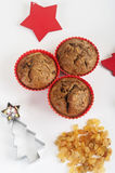 Christmas muffins with decor Stock Images
