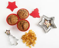 Christmas muffins with decor Royalty Free Stock Image