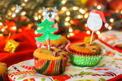 Christmas muffins Stock Photos