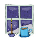 Christmas mug and candle near the night window behind the window and snow outside. Greeting card. Colored  illustration on white. Background Stock Images